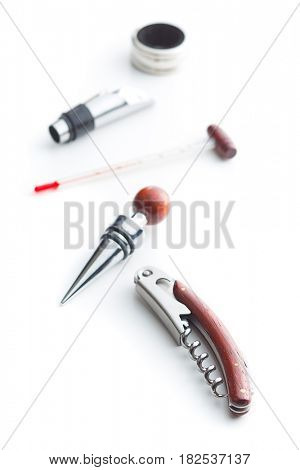 Luxury set of tools for winery isolated on white background.