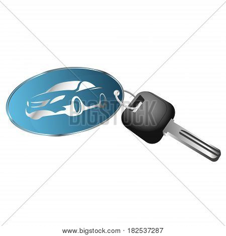 Rent a car symbol for business. Key and key chain.