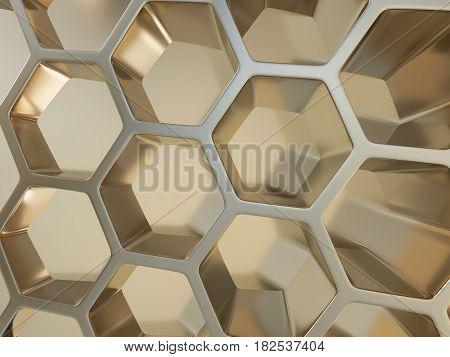 3d illustration of metal hexagonal honeycombs nano metal background