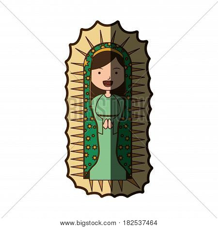 white background with canvas of pretty virgin of guadalupe with half shadow vector illustration