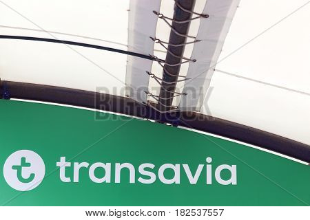 Lyon, France - March 21 2017: Transavia is a Dutch low-cost airline and a wholly owned subsidiary of KLM and therefore part of the Air France-KLM group