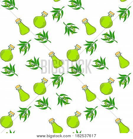 Hand drawn eucalyptus leaves and fruits. Flasks (bottles containers jugs) with eucalyptus oil. Seamless pattern.