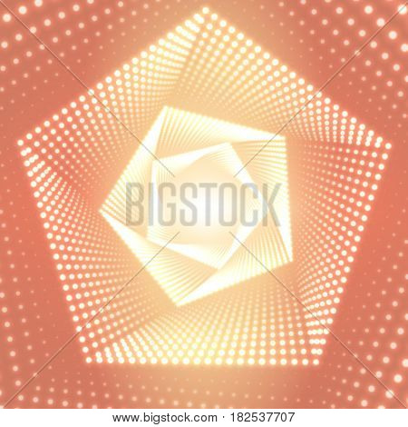 Vector infinite pentagonal twisted tunnel of shining flares on light orange background. Glowing points form tunnel sectors. Abstract cyber colorful background for your designs. Geometric wallpaper.