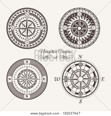 Isolated Vintage Or Old Marine Compass Rose Icons. Sea Or Ocean Navigation. Retro Cartography Icon O