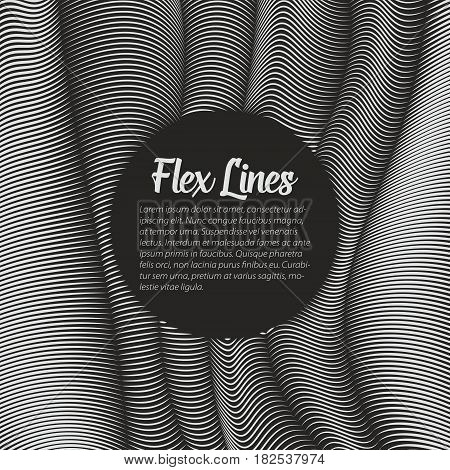 Vector warped lines background. Flexible stripes twisted as silk forming volumetric folds. Grayscale stripes with variable width. Modern abstract creative backdrop.