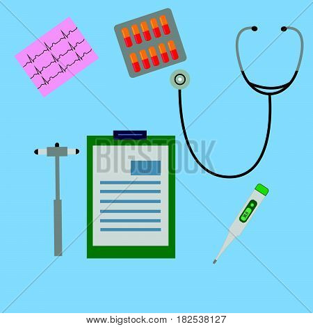 work desk doctor physician which are neurological hammer stethoscope ECG working notes notepad blister with capsules electronic thermometer