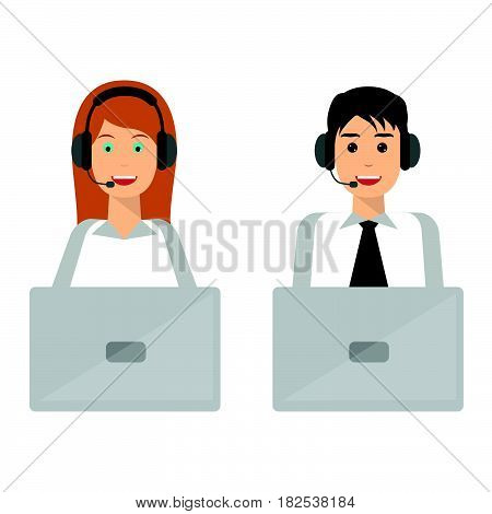Young man and woman wearing headsets conceptual of client services and communication. Call center service job character. Technical support customer service concepts.