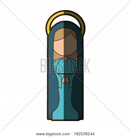 white background of virgin with dark blue mantle and aura with half shadow vector illustration