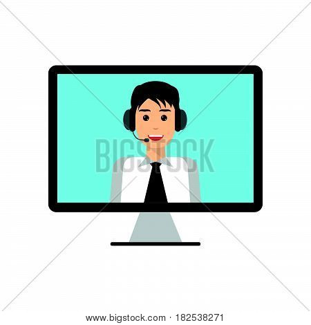 Man with headset on computer monitor screen. Technical support call center online customer live support webinar conference training and education concept. Flat design graphic elements.