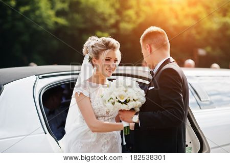 Groom Give His Hand For Bride To Take From Limousine At Wedding Day.