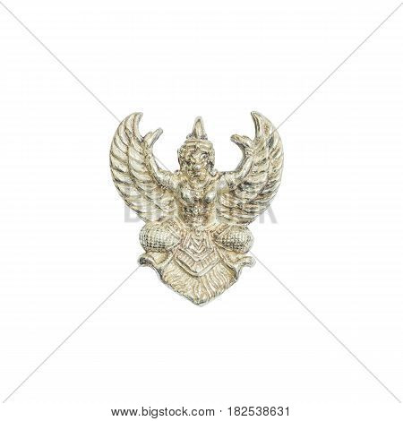 Closeup old small silver garuda statue isolated on white background with clipping path