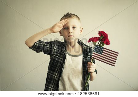 Memorial Day With Flowers And American Flag