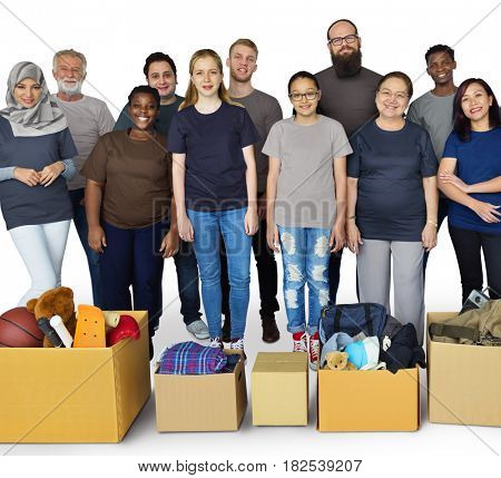Group of people with reuse objects for donation