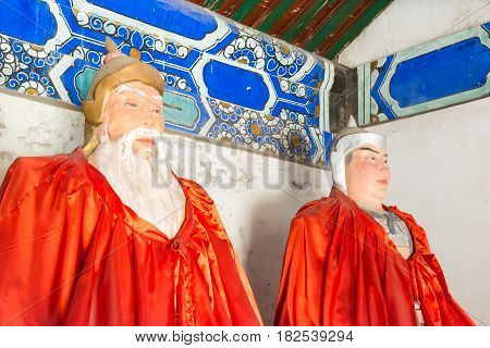 Hebei, China - Oct 13 2015: Statues Of Huang Zhong And Zhao Yun At Sanyi Temple. A Famous Historic S