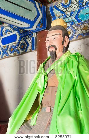 Hebei, China - Oct 13 2015: Pang Tong Statue At Sanyi Temple. A Famous Historic Site In Zhuozhou, He