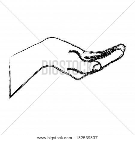 monochrome sketch silhouette of hand extended vector illustration