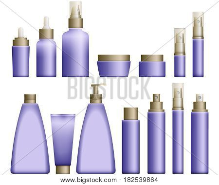 Realistic blue Cosmetics bottles set on white background. Cosmetic cream containers and tubes for cream, lotion and shampoo, gel and balsam in blue colors. Vector Illustration