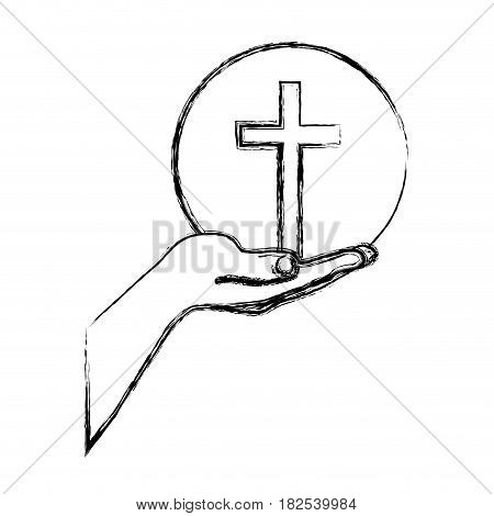 monochrome sketch silhouette of hand extended with sphere with cross symbol vector illustration