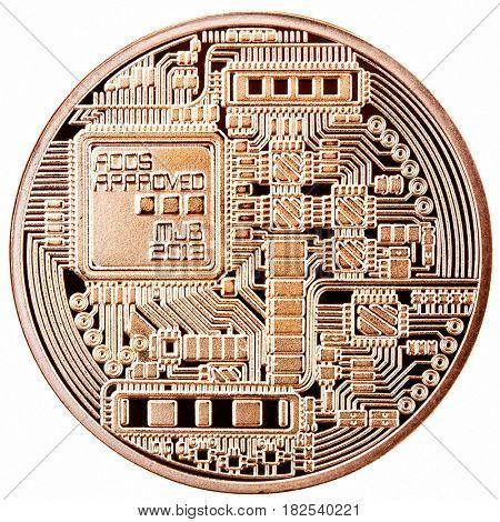 isolated bitcoin on white background backface