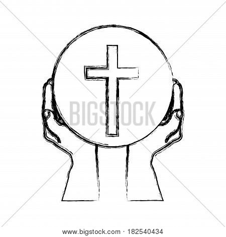 monochrome sketch silhouette of hands holding sphere with cross symbol vector illustration