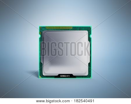 Computer Processors Cpu High Resolution 3D Render On Blue
