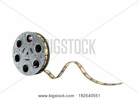 Film Reel With A Film Strip 3D Render No Shadow