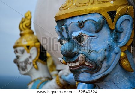 Giant Statue in Thailand Style Close Up Face
