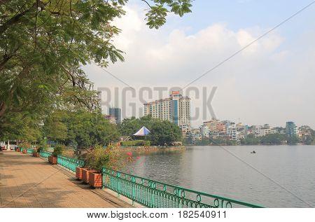 Truc Bach lake cityscape in Hanoi Vietnam