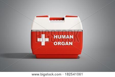 Closed Human Organ Refrigerator Box Red 3D Render On Grey Background