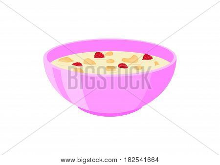 Corn flakes with milk and fruit in the bowl. Healthy breakfastbowl vector illustration