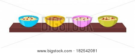 Vector bowl with porridge set on a shelf. Oatmeal and cereal with fruits, chocolate and nuts.