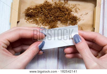 Female Hands Rolling Cigars With Tobacco