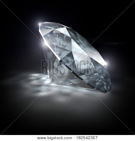 diamond classic cut on white background 3d rendering