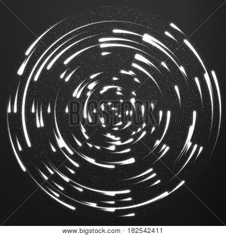 Vector grayscale glowing particles flying around the center leaving trails. Radar like monochrome background. Spinnig shining comets. Elegant modern geometric wallpaper.