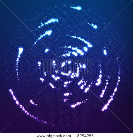 Vector glowing particles flying around the center leaving trails. Radar like violet background. Spinnig shining comets. Elegant modern geometric wallpaper.