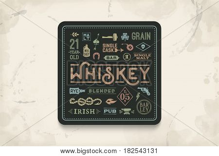 Coaster for whiskey and alcoholic beverages. Vintage drawing for bar, pub and whiskey themes. Black square for placing whiskey glass over it with lettering, drawings. Vector Illustration