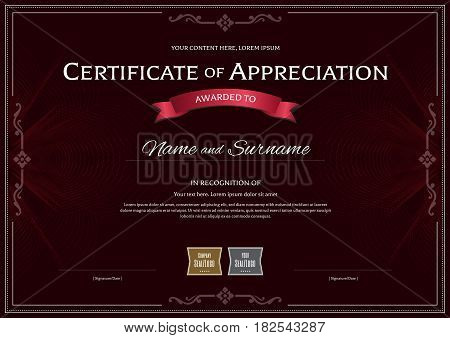 Certificate of appreciation template with award ribbon on dark red abstract guilloche background