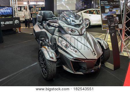 Can-am Spyder Rt Three Wheeler Bike Presented On Nagoya Motor Show 2015 In Nagoya, Japan