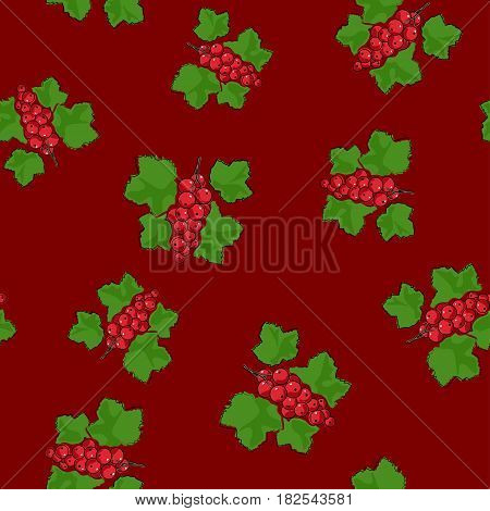 Seamless Pattern of Redcurrant, Fruit Berry on Dark Red Background, Vector Illustration