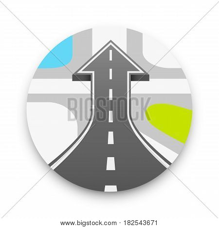 Road with an arrow up. Road cover up , Vector illustration