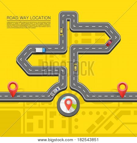 Road direction. Paved path on the road . Vector background