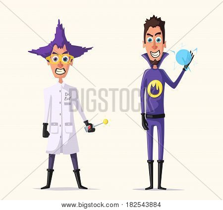 Crazy villains. Funny characters. Cartoon vector illustration. Mad professor. Science experiment. Doctor evil. Bad men. Energy balloon. Evil superheroes