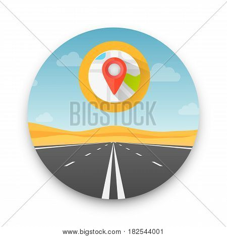 Road to infinity highway, Road in the desert , Vector illustration, Road background.