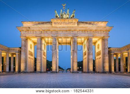 Brandenburger Tor (brandenburg Gate) In Twilight During Blue Hour At Dawn, Berlin, Germany