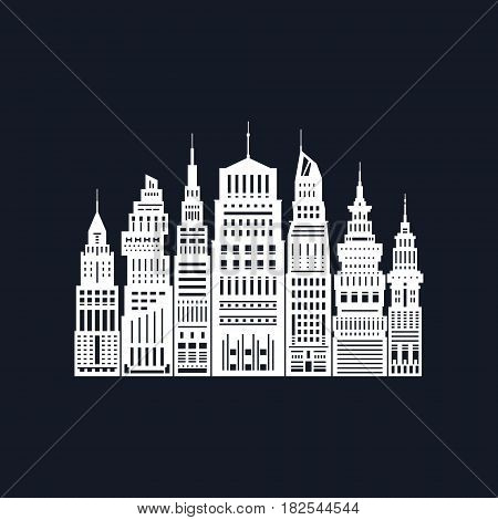 White Silhouette Modern Big City on Black Background ,Architecture Megapolis with Buildings and Skyscraper, City Financial Center, Black and White Vector Illustration