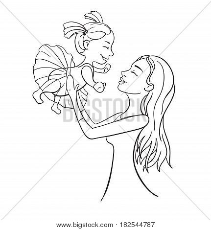 Mother and daughter outline vector illustration. Happy female family. Character design woman and her child. Great for mothers day card, banner, poster
