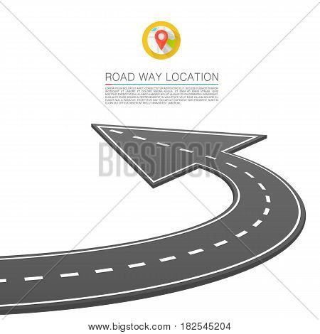 Paved path on the road, Road location arrow , Vector background