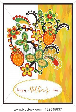 Greeting card with Khokhloma floral ornament. Postcard for Women's Day Mother's Day Birthday Wedding Anniversary. Vector illustration