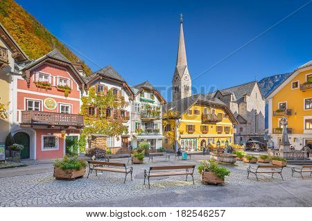 Historic Town Square Of Hallstatt, Region Of Salzkammergut, Austria