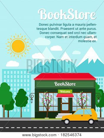 Bookstore advertising banner with shop building and landscape, vector illustration